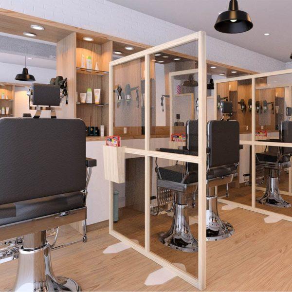 Mamparas protectoras en una peluquería